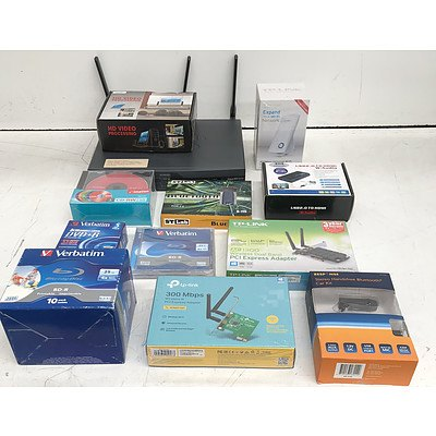 Bulk Lot of Assorted IT & Office Equipment - Adapters, Writable Discs & Networking Appliances
