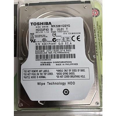 Toshiba (MK3261GSYG) 320GB 2.5-Inch SATA Hard Drives - Lot of Six