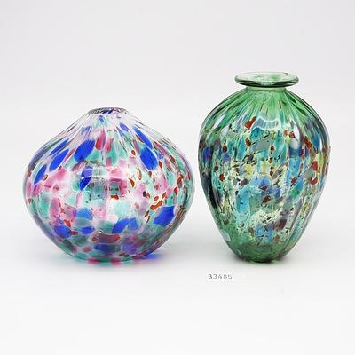Australian Studio Glass Bud Vase by Eamonn vereker and a Green Glass Vase Marked ML 94 to Base