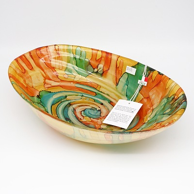Contemporary Italian Hand Decorated Tuscan Serving Bowl with Tag