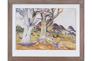 P. Hilliar (20th Century), Untitled (Landscape with Gumtrees) 1965, Watercolour
