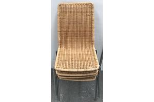 Cane Outdoor Chairs -Lot Of Four
