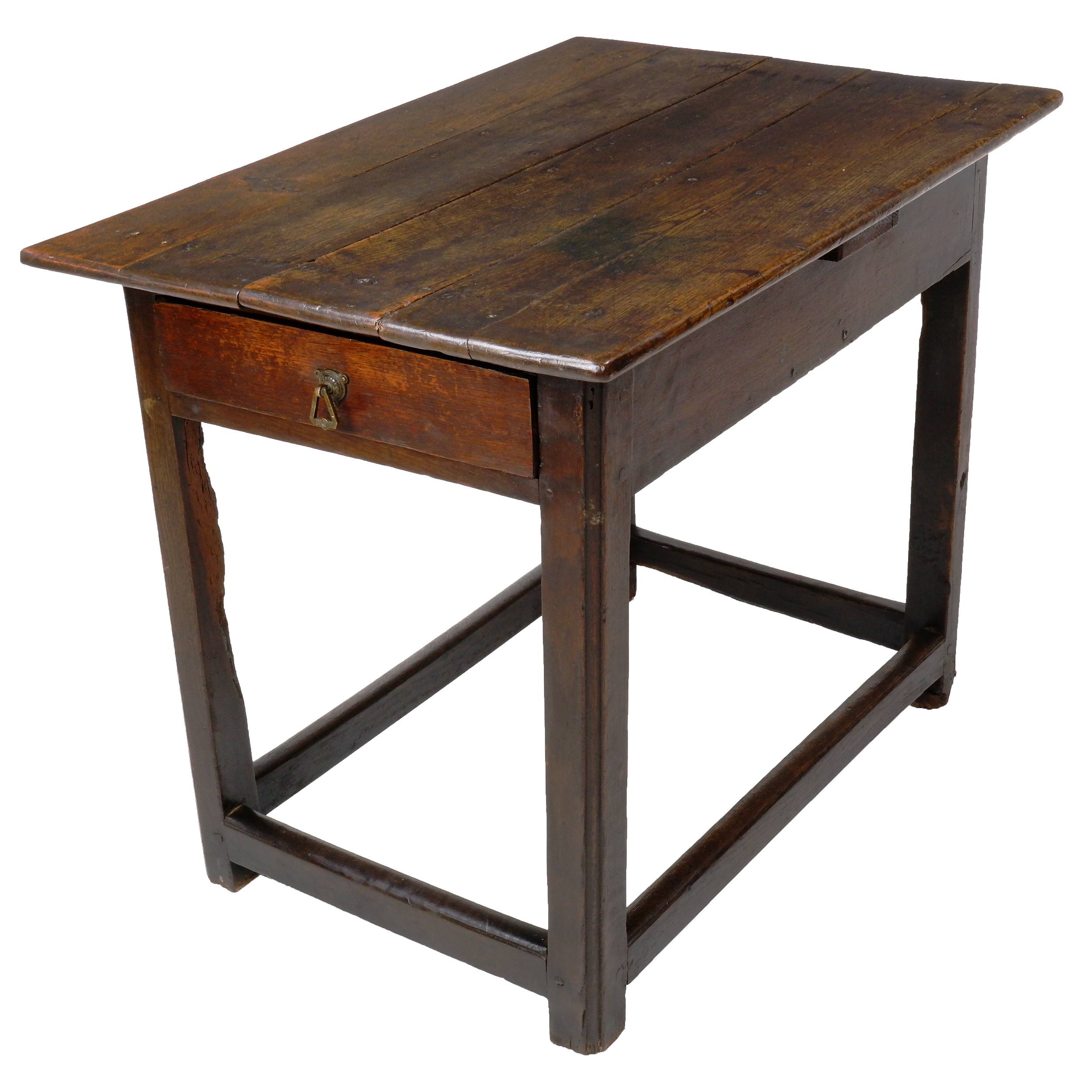'Georgian Oak Side Table with End Drawer, Late 18th Century'