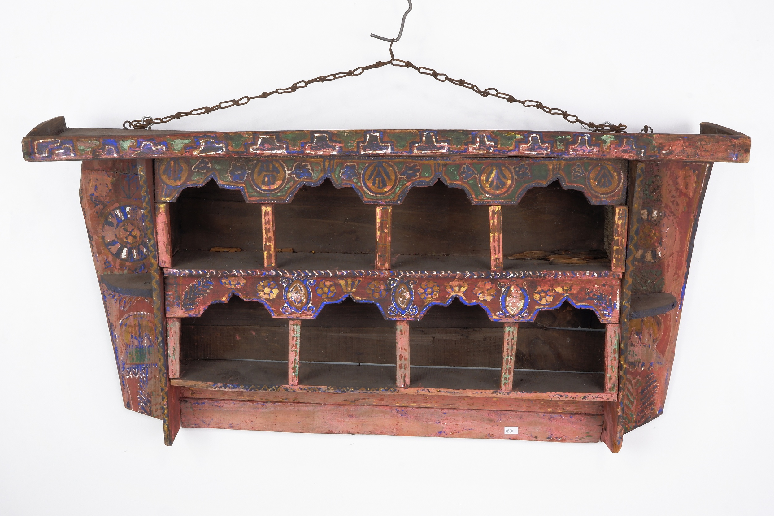 'Rare Antique Moroccan Hanging Spice Shelf with Original Hand Painted Decoration'