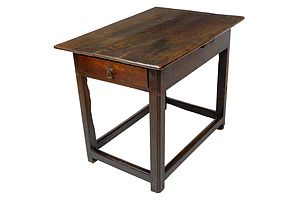 Georgian Oak Side Table with End Drawer, Late 18th Century