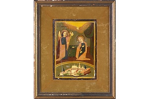Antique Greek Orthodox Icon 'The Evangelism' - Tempera on Board - Circa 1880