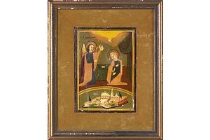 Antique Greek Orthodox Icon 'The Evangelism' - Tempera on Board - Circa 1880