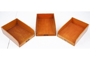 Three Vintage Wooden Document Trays (3)