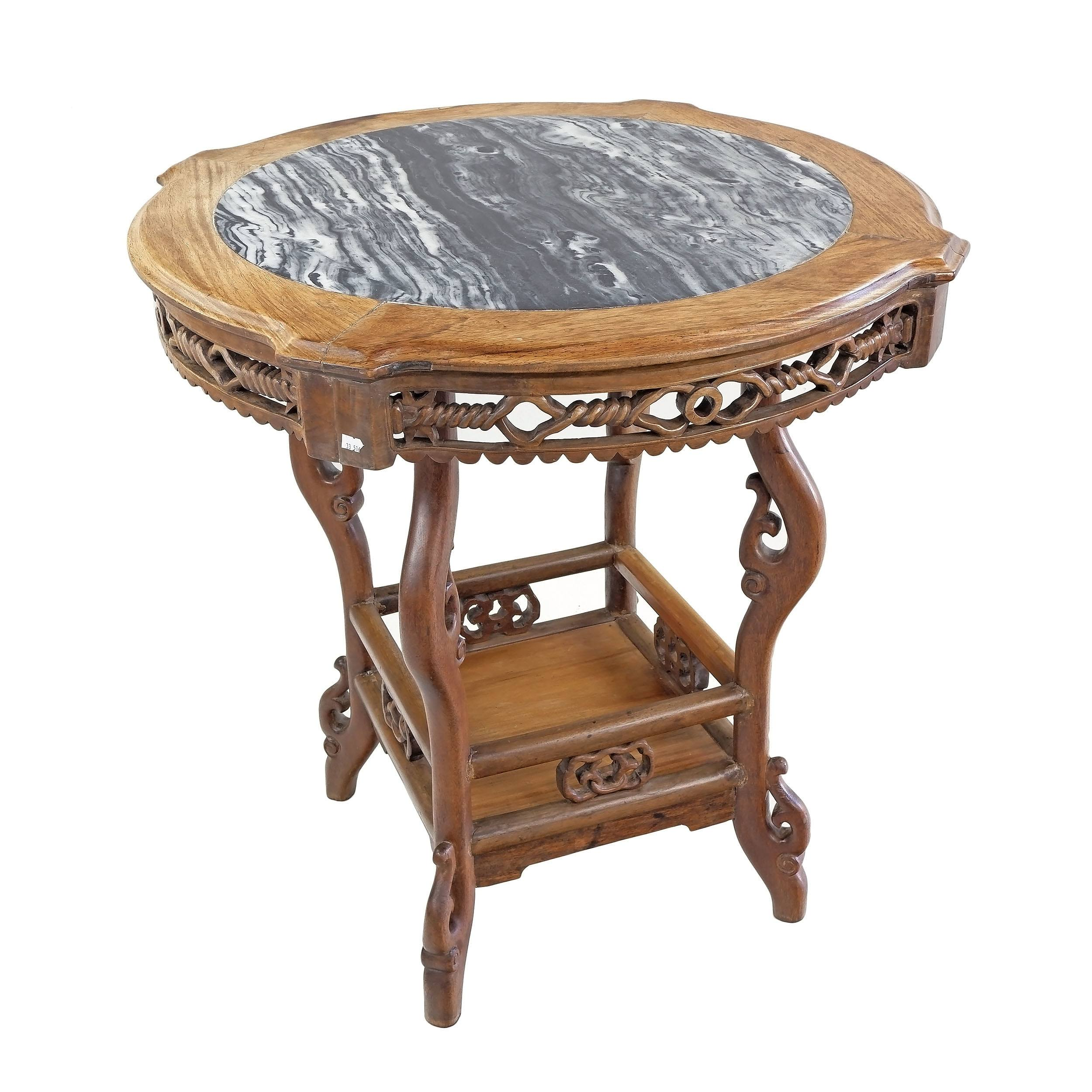 'Chinese Rosewood and Marble Topped Side Table, Early 20th Century'