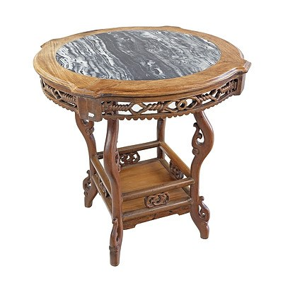 Chinese Rosewood and Marble Topped Side Table, Early 20th Century