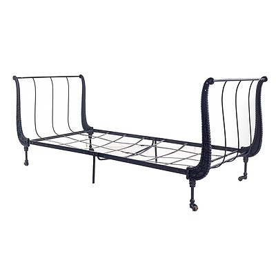 French Second Empire Cast Iron Folding Campaign Bed, 3rd Quarter of the 19th Century