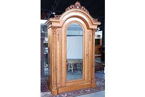 Fine Victorian Birds-Eye Maple Mirror Door Wardrobe of Classical Architectural Form, Circa 1860