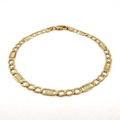 9ct Yellow Gold Figaro Style Bracelet, 3g