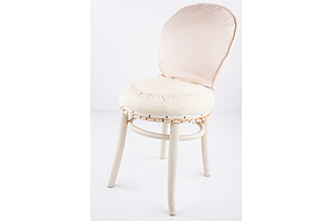 Vintage White Painted Bentwood Chair with Later Fabric Covering