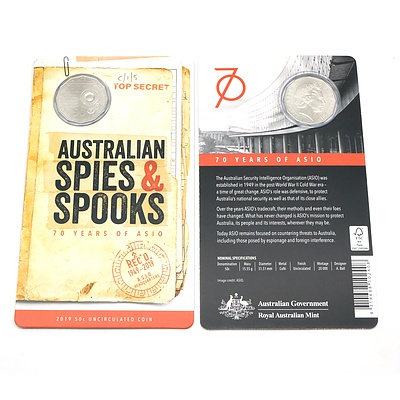 Two 2019 Uncirculated 50 Cent Coins, Australian Spies and Spooks - 70 Years of Asio