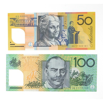 First Prefix 2011 $100 Notes AA11719162 and $50 AA11046161
