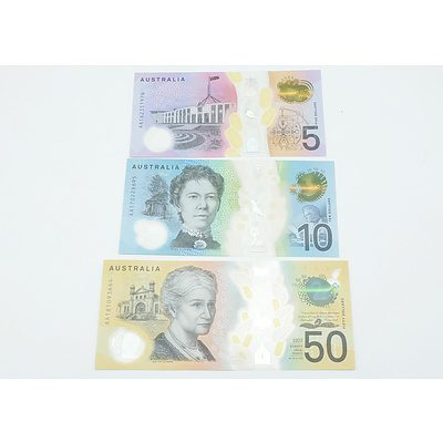 Three New Generations First Prefix Notes, $50 AA181093664, $10 AA170228695 and $5 AA162351976