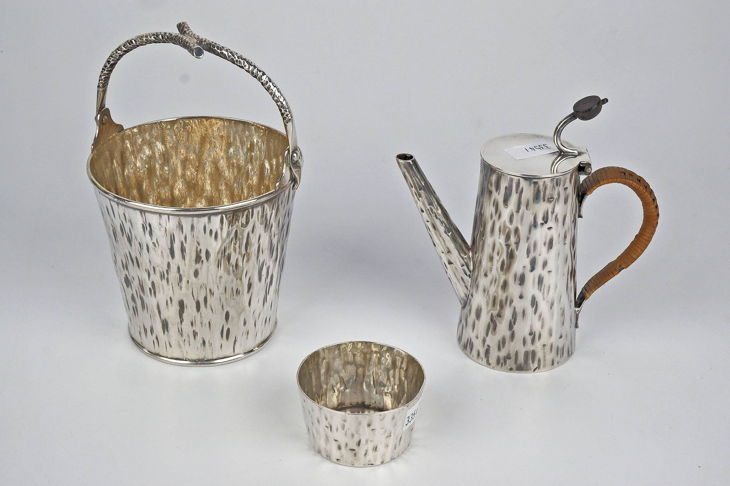 'English Aesthetic Movement Silver Plated and Cane Handled Chocolate Pot, Sugar Bowl and Sweets Pail, Hukin and Heath'
