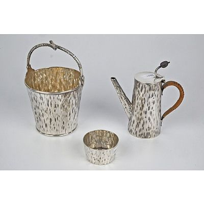 English Aesthetic Movement Silver Plated and Cane Handled Chocolate Pot, Sugar Bowl and Sweets Pail, Hukin and Heath