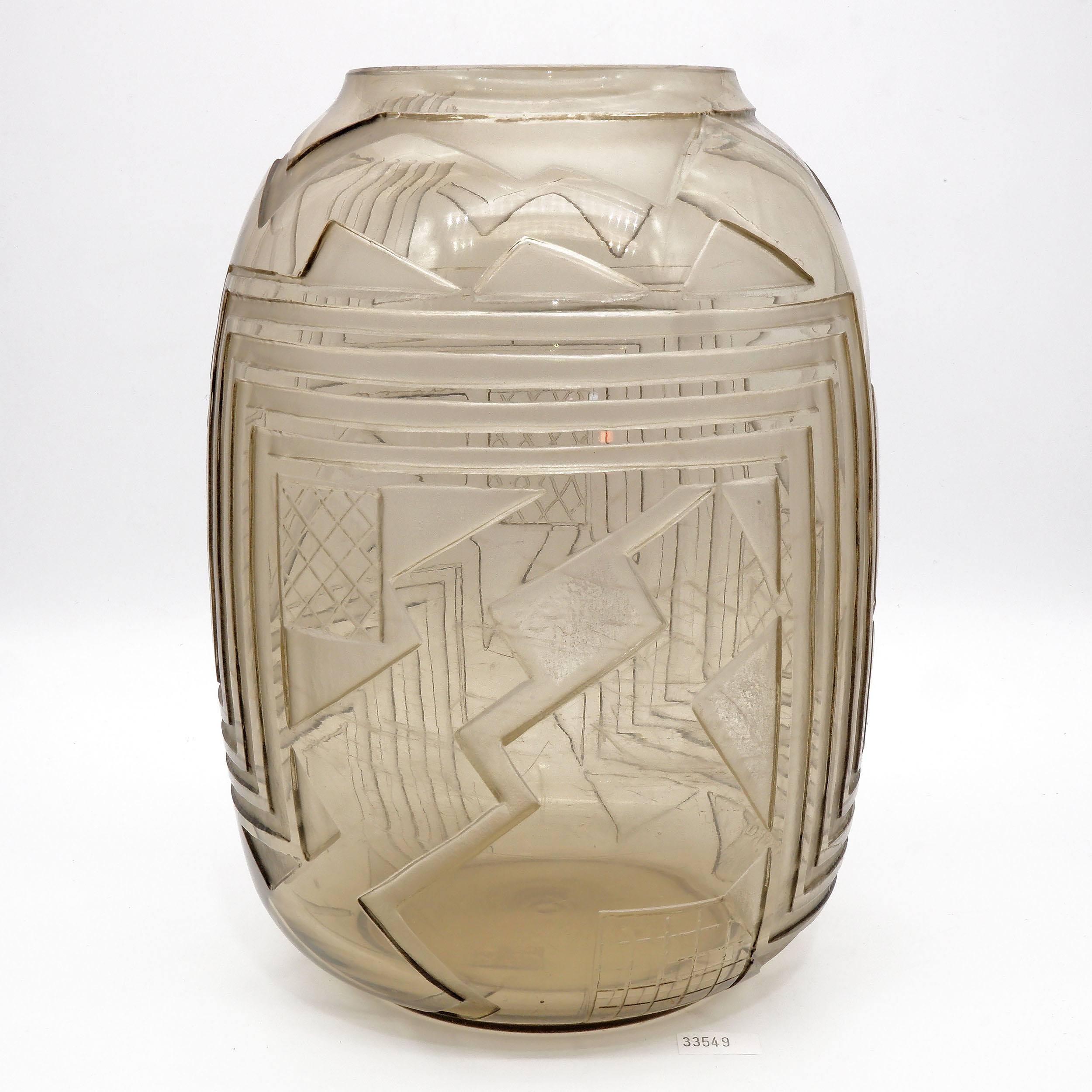 'Signed Art Deco Glass Vase with Deeply Acid Cut Geometric Designs Circa 1920s'
