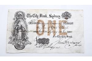 Rare Note, The City Bank Sydney, One Pound, 26 January 1869
