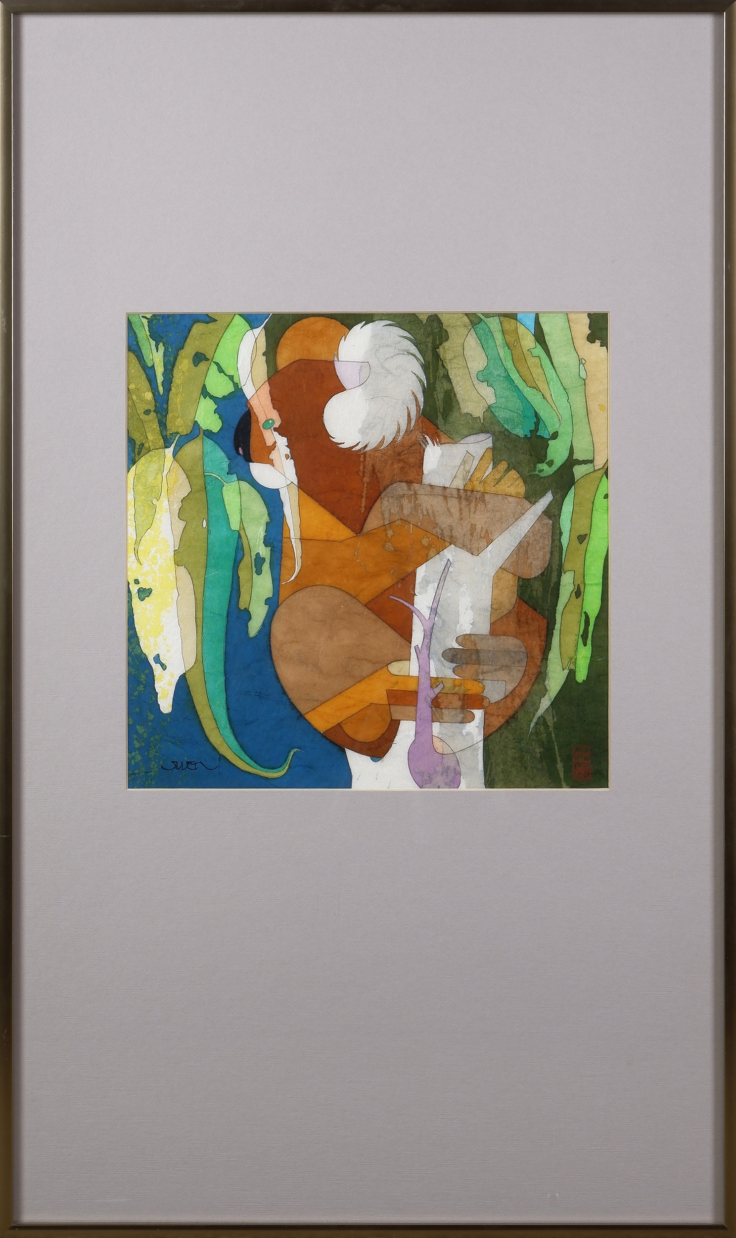 'Cornel Swen (born 1930), Gumtip Gastro-Gnome 1993, Wax-Resisted Dye Painting on Japanese Washi Paper'