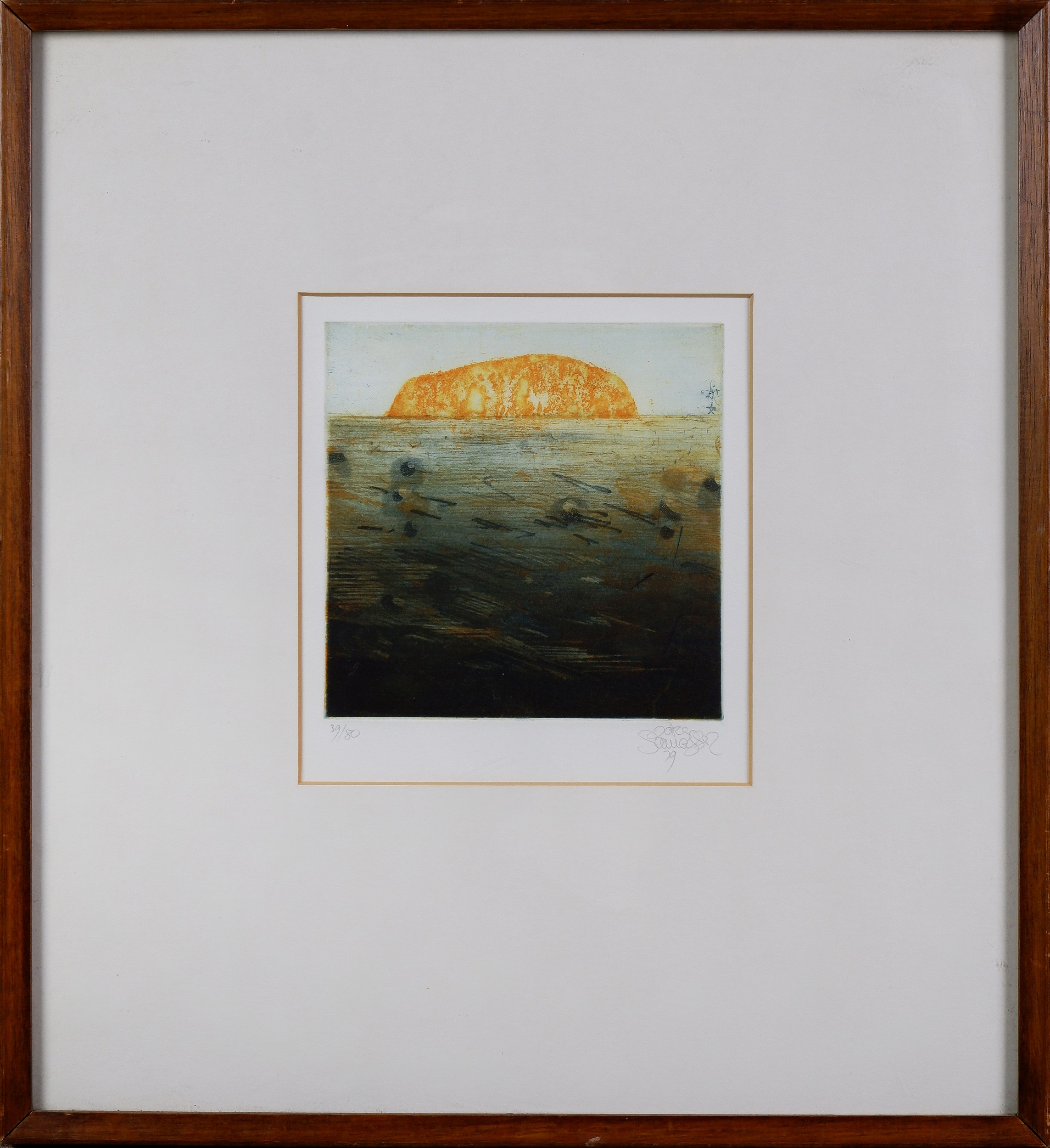 'Jorg Schmeisser (1942-2012), Small Ayers Rock 1979, Etching, Edition 39/80, 15 x 14 cm (image size)'