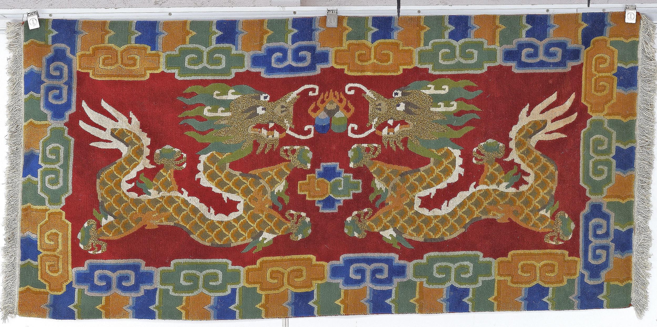'Sino-Tibetan Hand Knotted Wool Pile Dragon Rug'