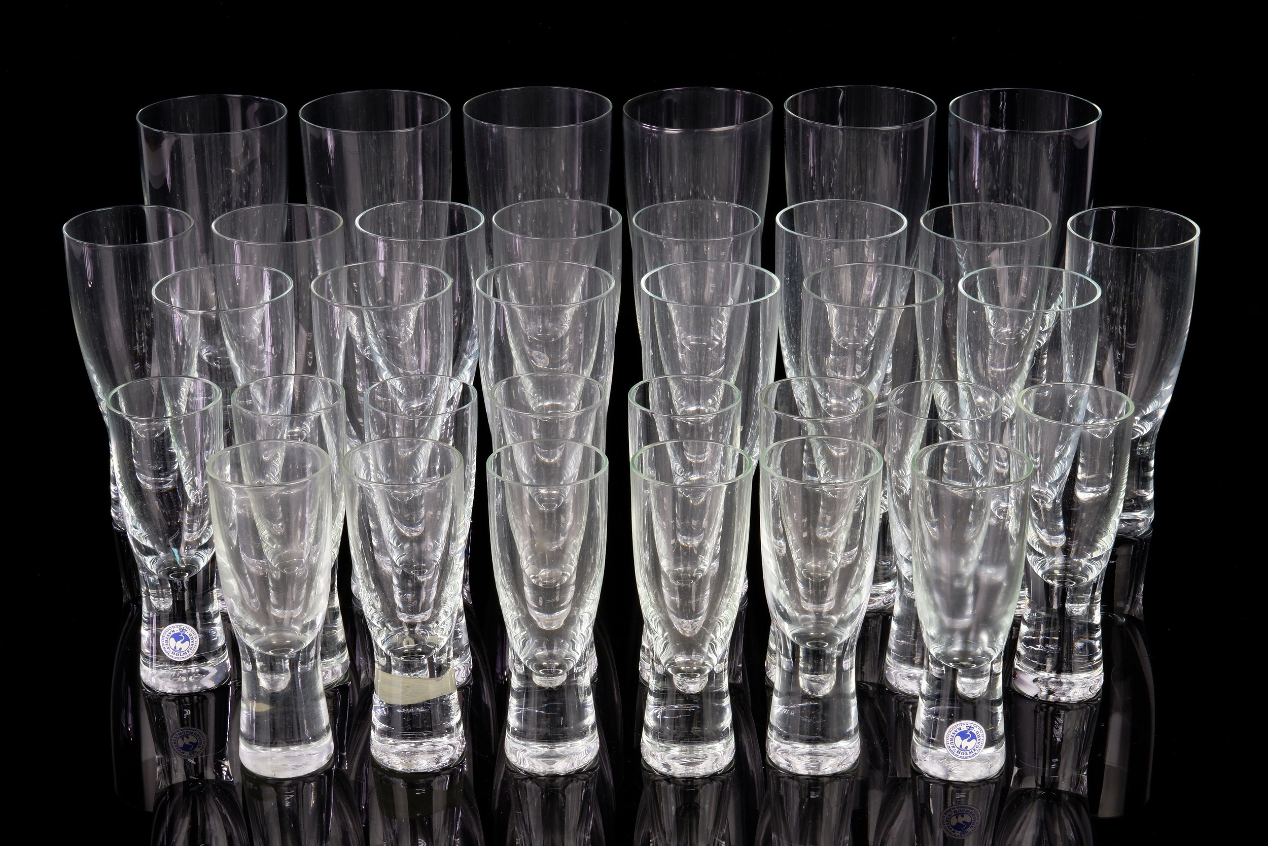 'Thirty Four Peice Holmegaard Canada Crystal Glasses Designed by Per Lutkin Denmark, (34)'