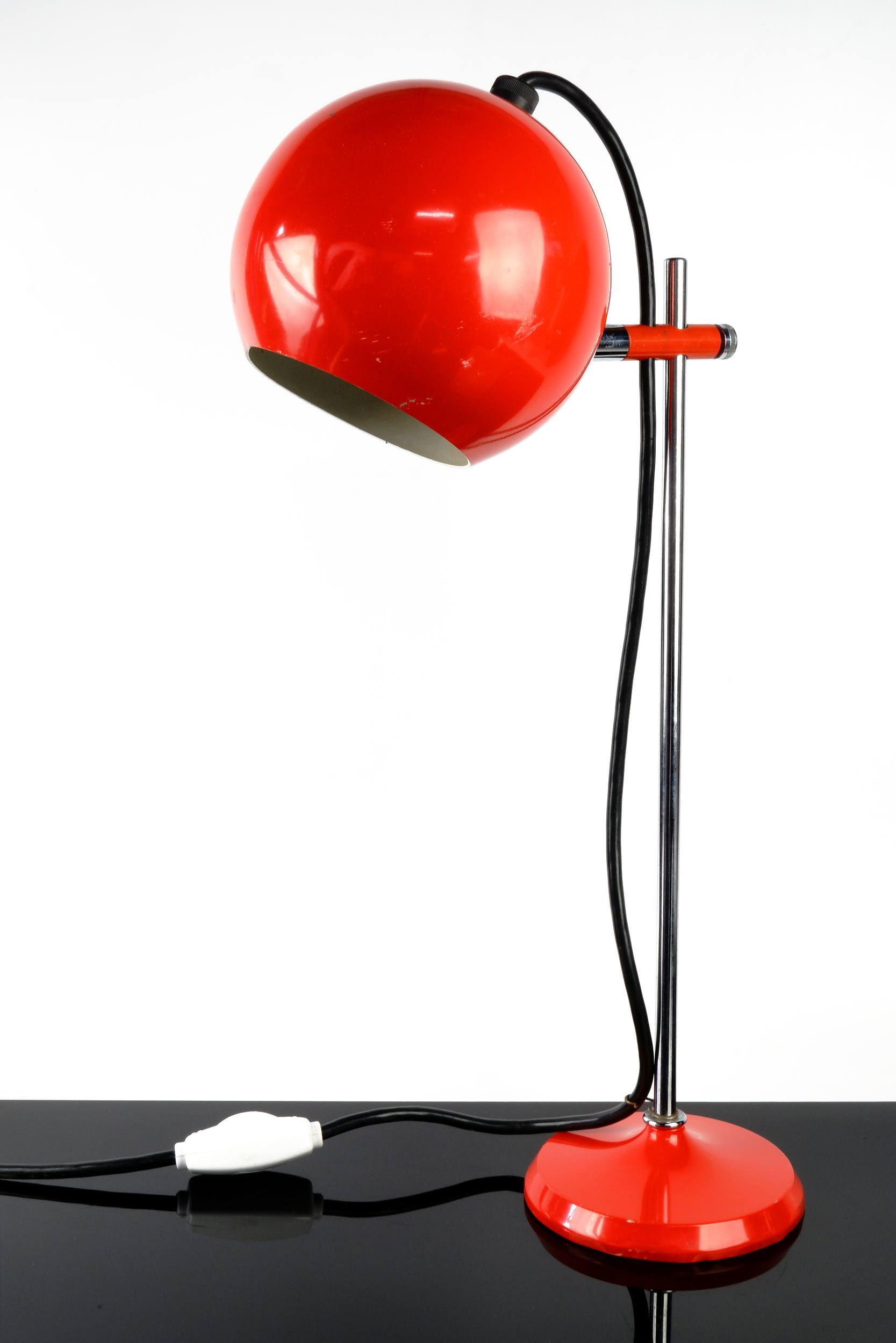 'Mid Century Space Age Heavy Orange Eyeball Desk Lamp'