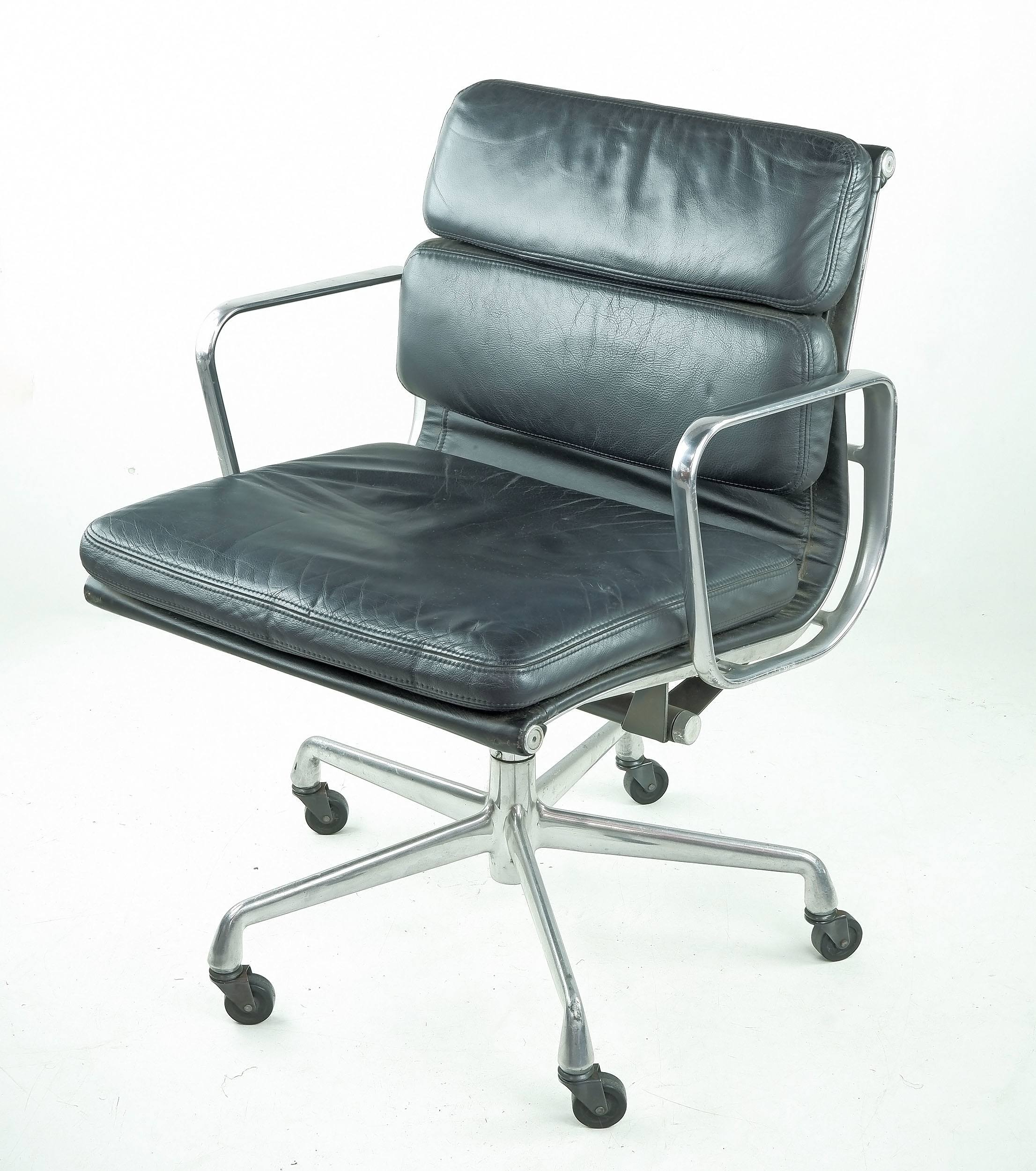 'Genuine Eames Soft Pad Chair Manufactured by Herman Miller'