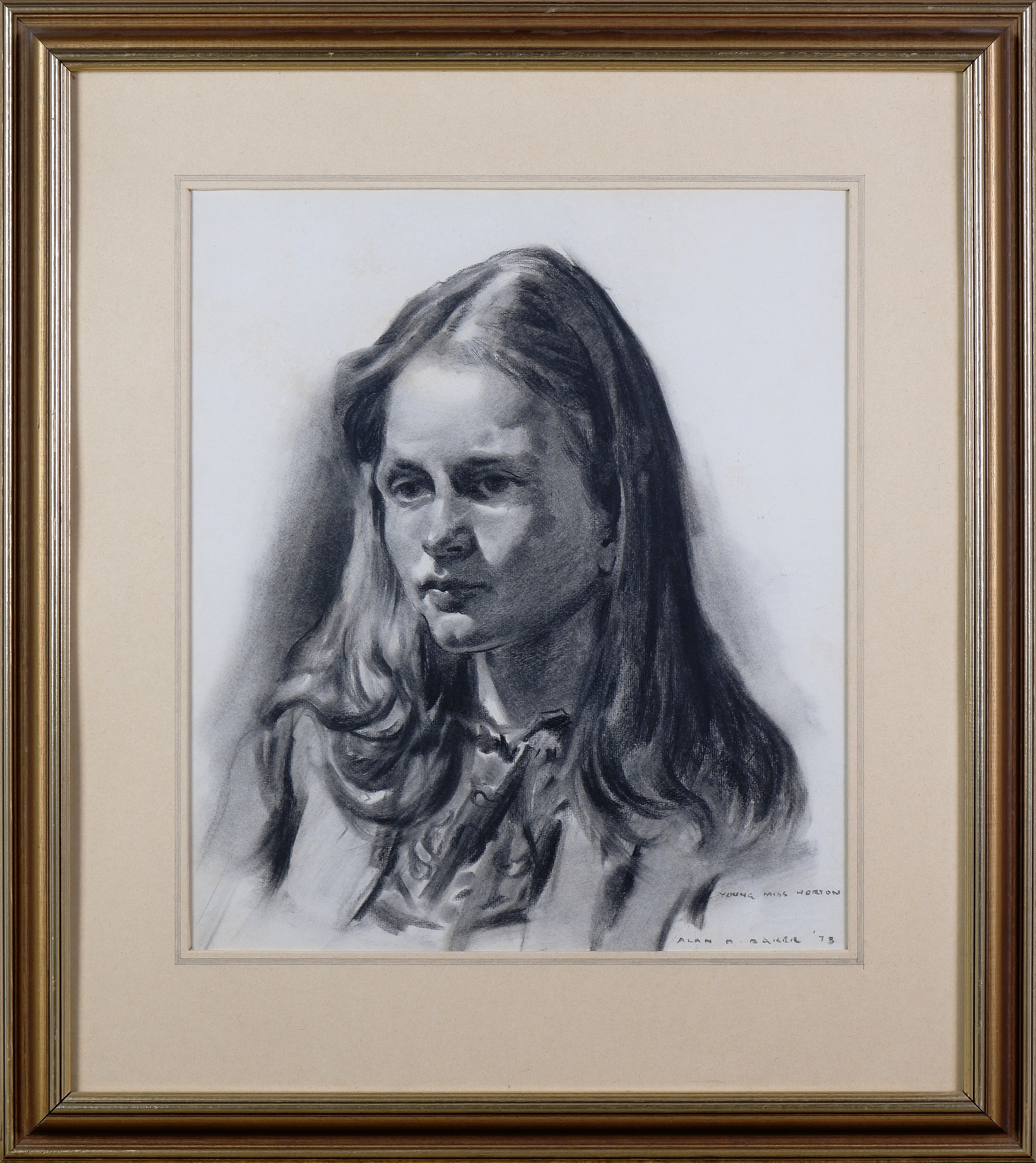 'Alan Baker (1914-1987), Charcoal Study (Young Miss Horton) 1973, Charcoal on Paper'