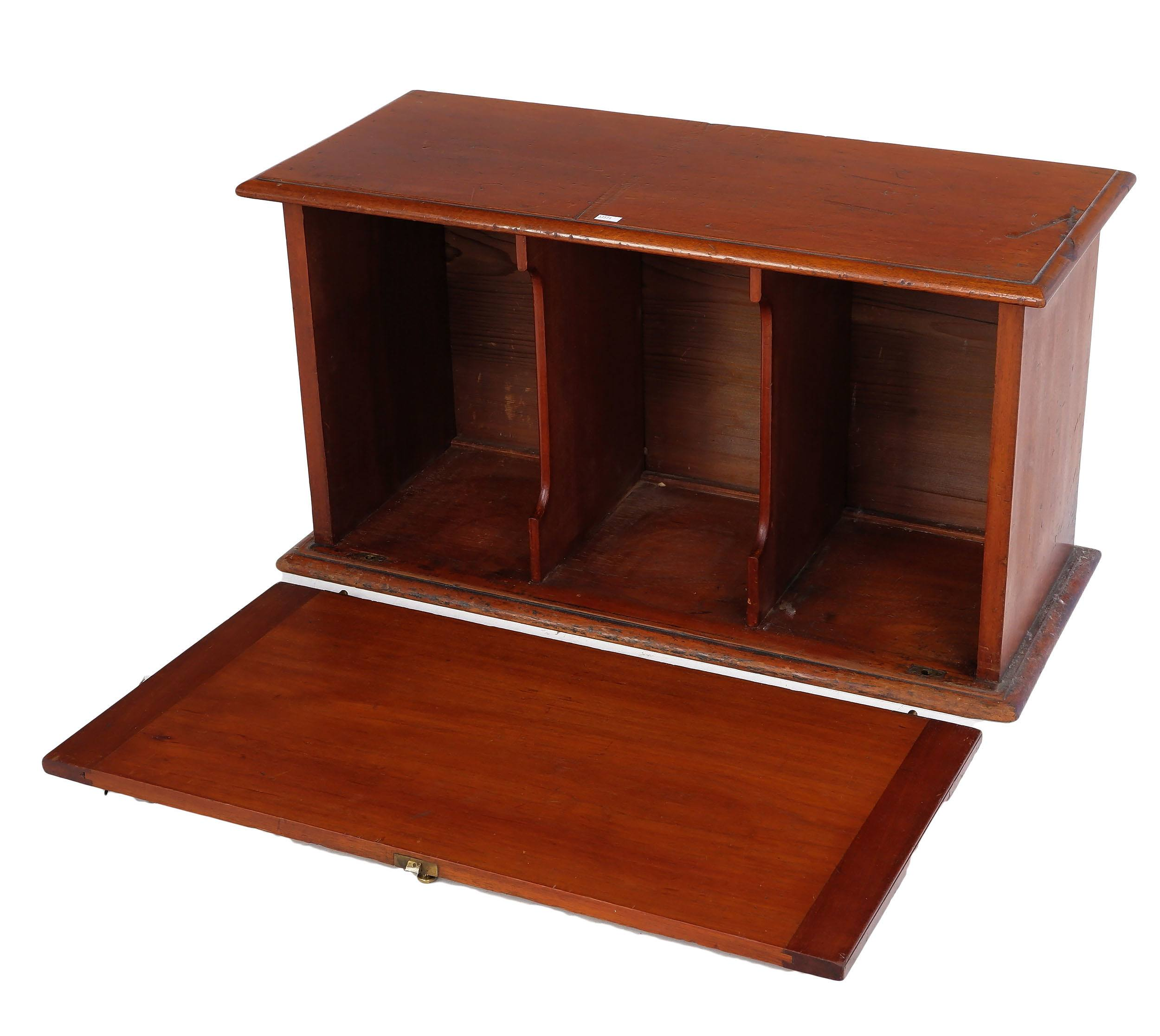 'Antique Australian Cedar Desktop Stationery Cabinet with Drop Front and Divided Interior'