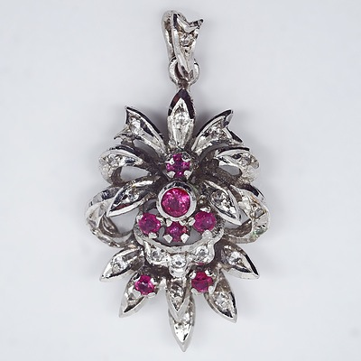 9ct White Gold Ruby and Diamond Pendant, 4.77gm