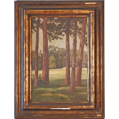 Hermann Stuhr (Germany 1870-1918) Untitled Forest Scene 4 Oil on Canvas Board