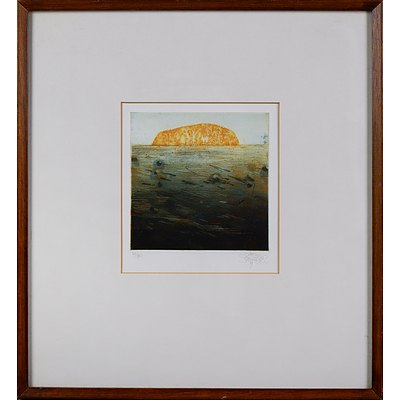 Jorg Schmeisser (1942-2012), Small Ayers Rock 1979, Etching, Edition 39/80, 15 x 14 cm (image size)
