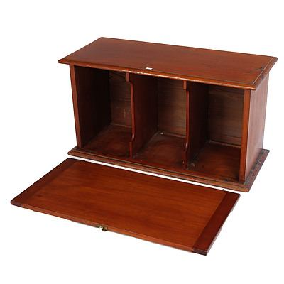 Antique Australian Cedar Desktop Stationery Cabinet with Drop Front and Divided Interior