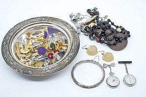 Miscellaneous Lot Vintage Jewellery including Cufflinks, Nurses Watches & Silver Bangle