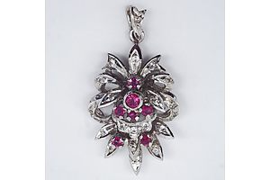 Vintage White Gold Ruby and Diamond Pendant 4.77gm