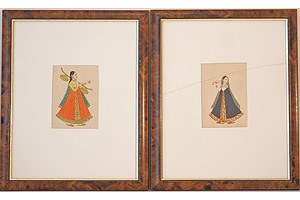 Pair of Indian Miniature Paintings Gouache and Ink on Paper
