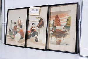 3 Vintage Vietnamese Watercolours, All Signed