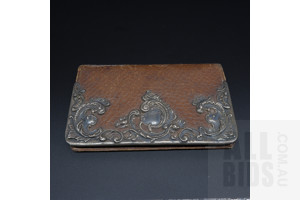 Antique German Sterling Silver Mounted Leather Wallet