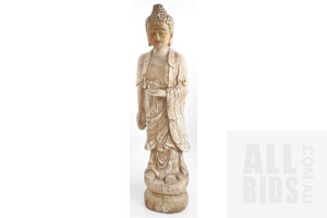 Large Vintage Chinese Ming-Style Carved and Lacquered Wood Figure of a Standing Buddha Shakyamuni