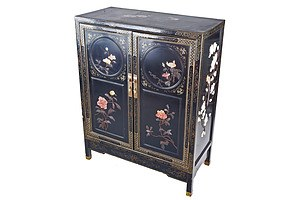 Chinese Black Lacquer and Carved Hardstone Embellished Cabinet Circa 1960