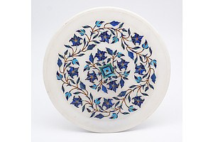 Indian Marble Tray Inlaid with Semi Precious Stones including Lapis Lazuli and Turquoise