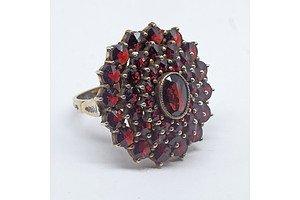 Vintage Bohemian Silver Gilt and Garnet Ring