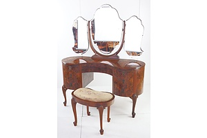 Antique Style Dressing Table with Three Panel Wing Mirror Above and Matching Stool in Burr Walnut Veneer