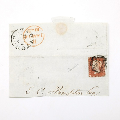 Penny Red Envelope Dated 1843