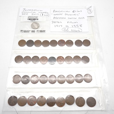 Collection of American Wheat Pennies, Various Dates from 1917 -1958, and American 2013 Jefferson Memorial 5c Coin