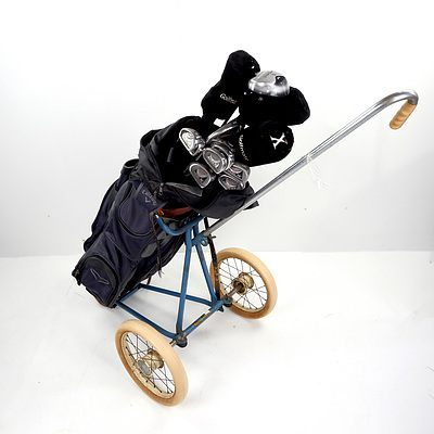 Super Scot 14 Left Handed Golf Club Set With Calaway Bag and Vintage Buggy